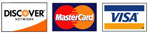 VISA, MasterCard, and Discover cards accepted